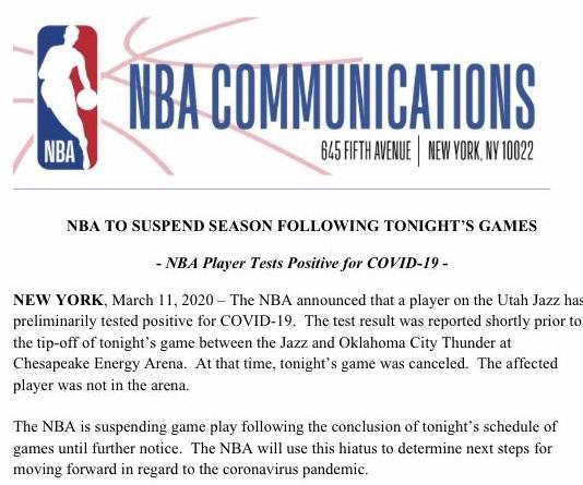 NBA Statement virus